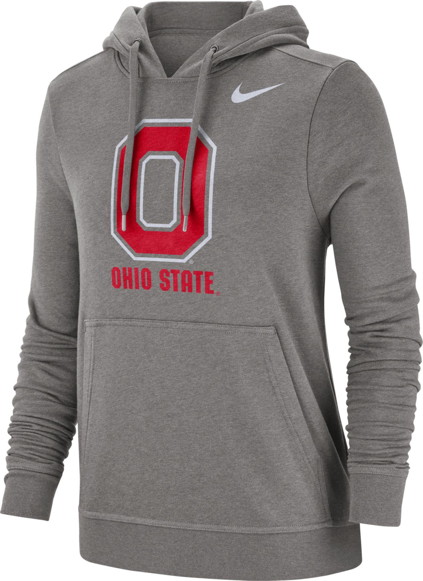 Nike Women's Ohio State Buckeyes Gray Club Fleece Pullover Hoodie