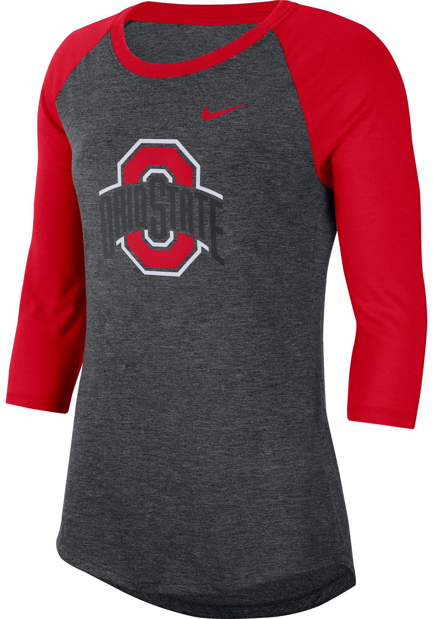 Nike Women's Ohio State Buckeyes Grey Dri-FIT Raglan ¾ Sleeve T-Shirt