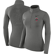 Nike Women's Ohio State Buckeyes Gray Dri-FIT Half-Zip Shirt