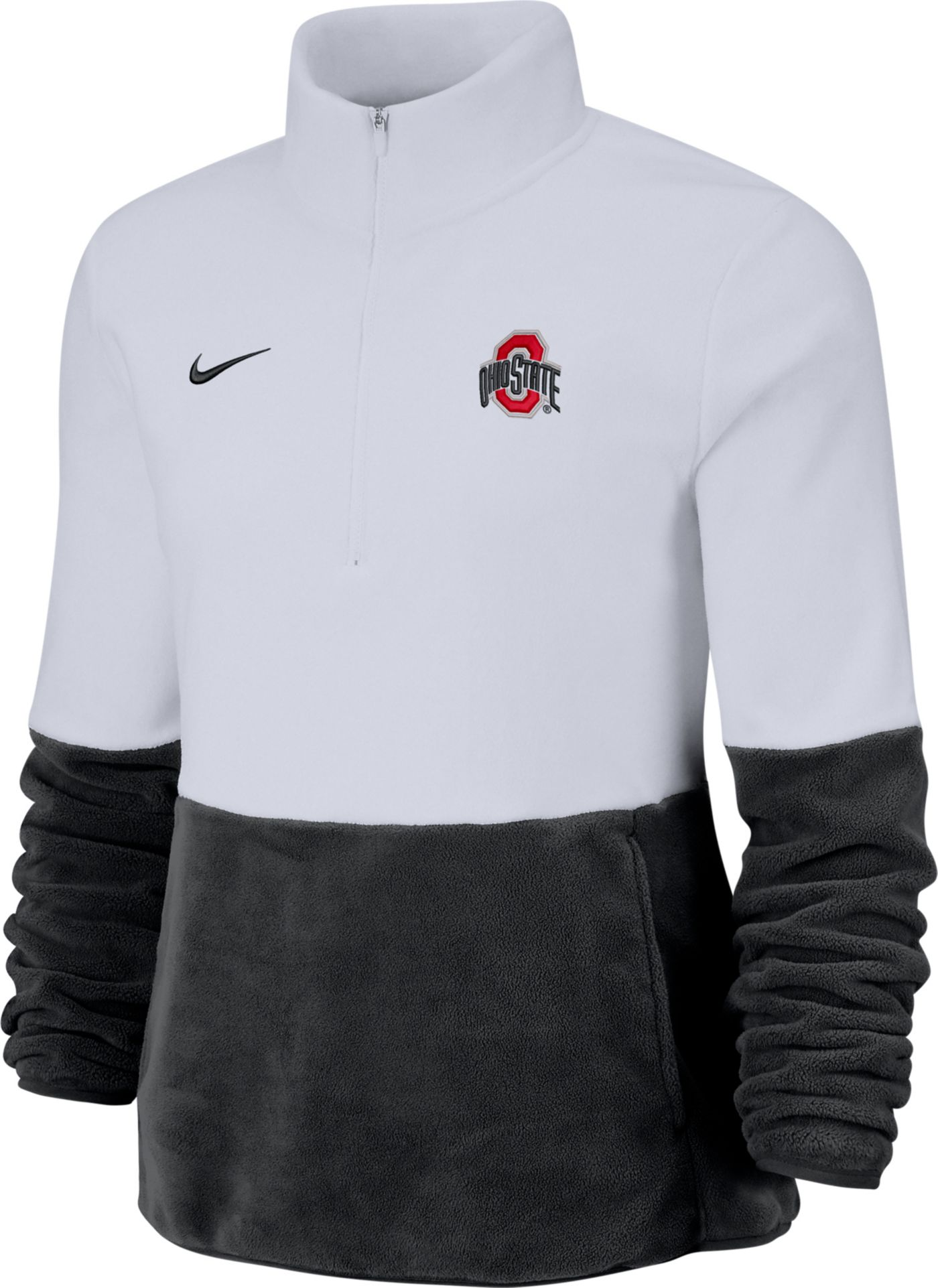 Nike Women's Ohio State Buckeyes Cozy Therma White Half-Zip Fleece