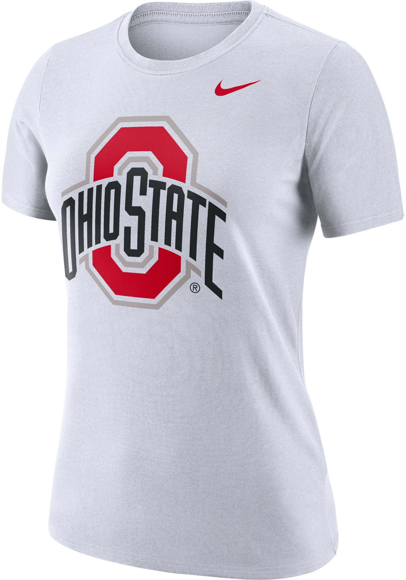 Nike Women's Ohio State Buckeyes Dri-FIT Logo Crew White T-Shirt