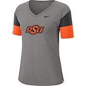 Nike Women's Oklahoma State Cowboys Grey Breathe V-Neck T-Shirt