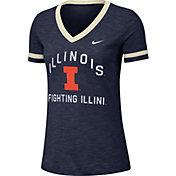 Nike Women's Illinois Fighting Illini Blue Slub Fan V-Neck T-Shirt