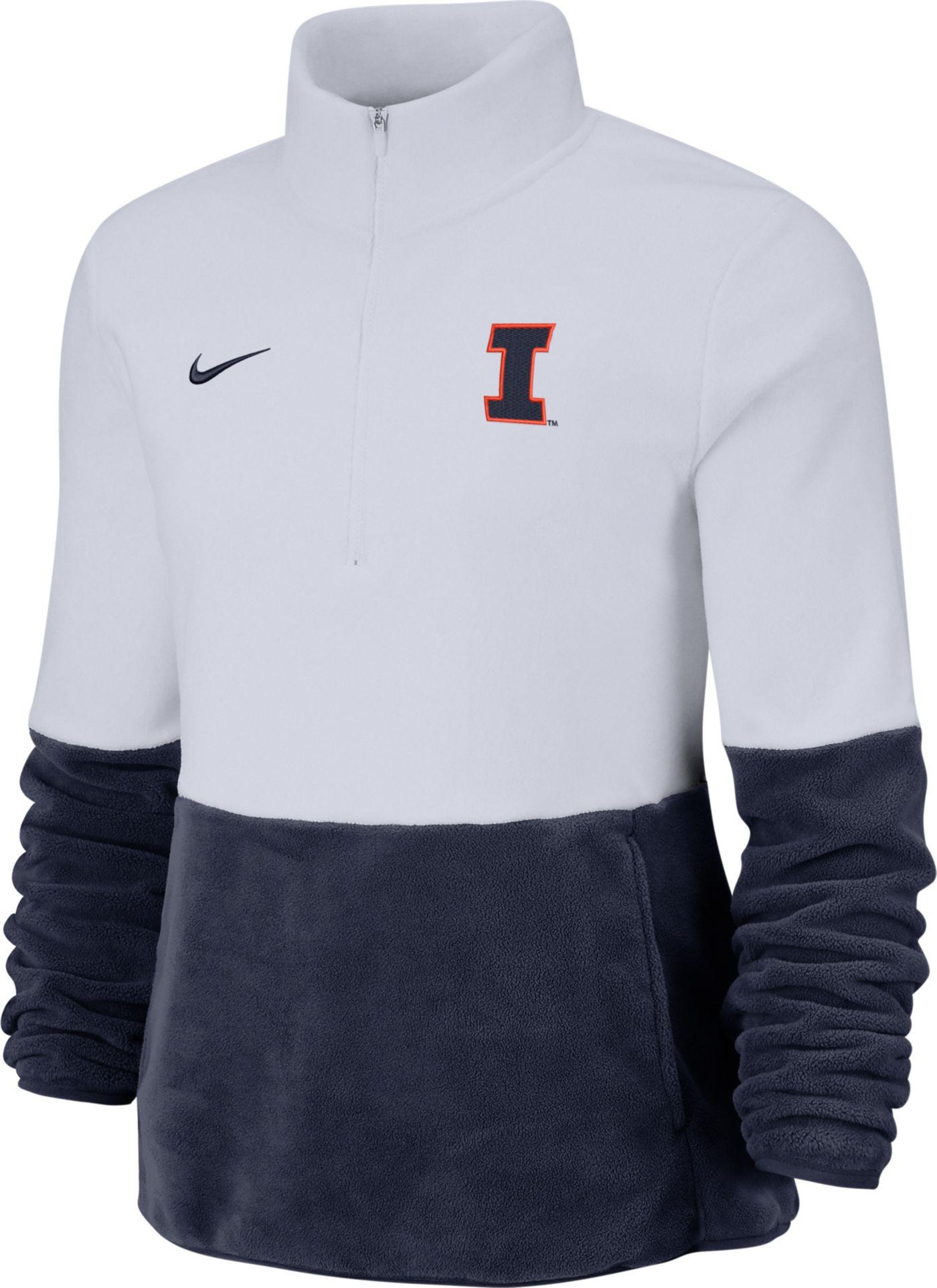 Nike Women's Illinois Fighting Illini Cozy Therma White Half-Zip Fleece