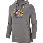 Nike Women's LSU Tigers Grey Club Fleece Pullover Hoodie