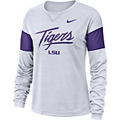 Nike Women's LSU Tigers Dri-FIT Breathe Long Sleeve White T-Shirt