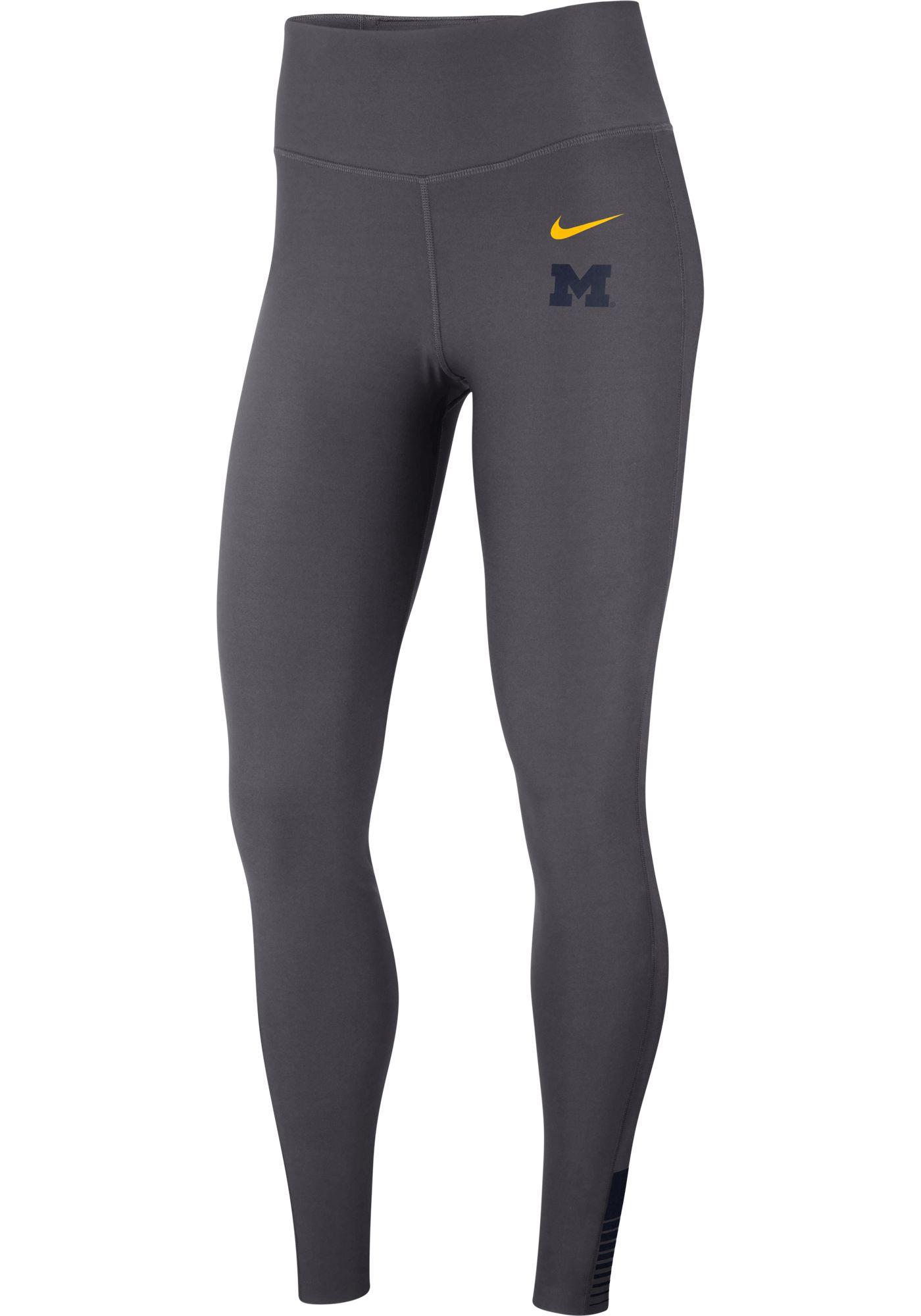 Nike Women's Michigan Wolverines Grey Power Sculpt High Rise Training Tights