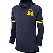 Nike Women's Michigan Wolverines Blue Funnel Neck Long Sleeve Top