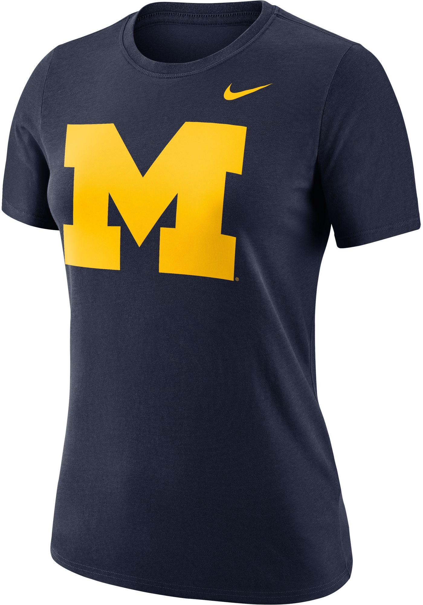 Nike Women's Michigan Wolverines Blue Dri-FIT Logo Crew T-Shirt