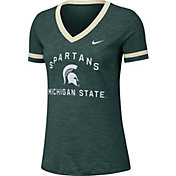 Nike Women's Michigan State Spartans Green Slub Fan V-Neck T-Shirt