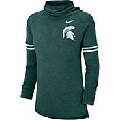 Nike Women's Michigan State Spartans Green Funnel Neck Long Sleeve Top