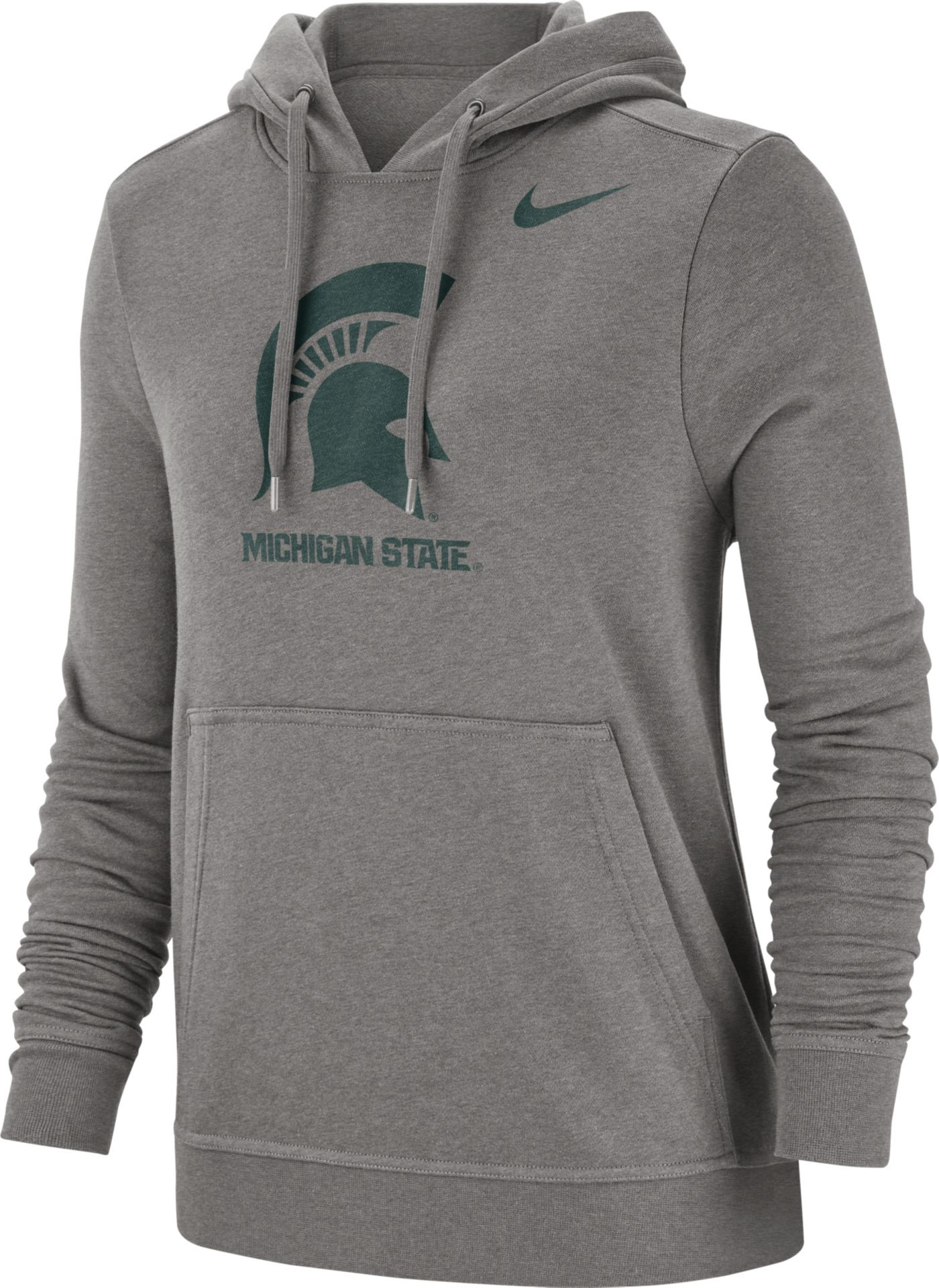 Nike Women's Michigan State Spartans Grey Club Fleece Pullover Hoodie