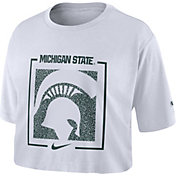 Nike Women's Michigan State Spartans Dry Cropped White T-Shirt