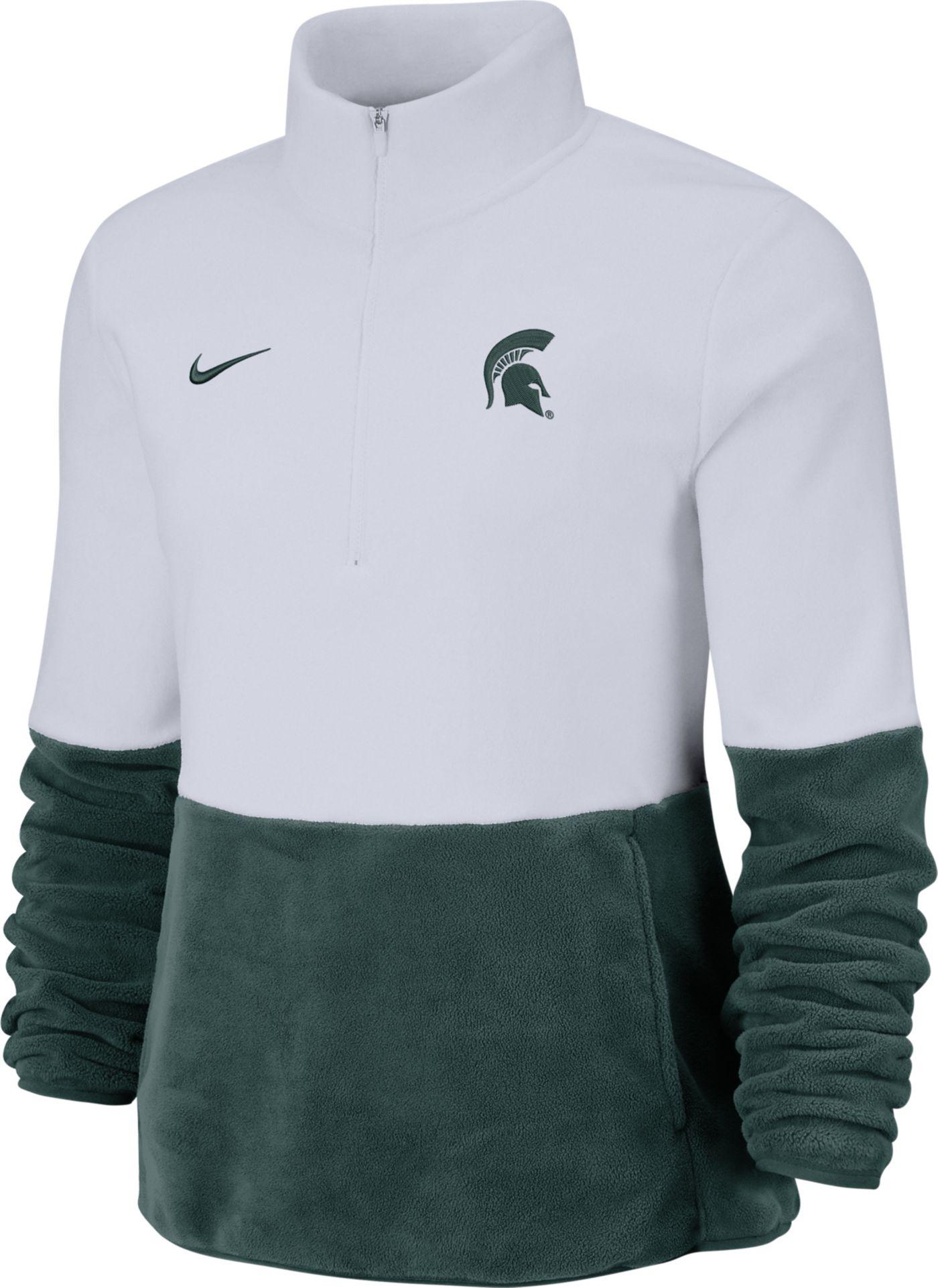 Nike Women's Michigan State Spartans Cozy Therma White Half-Zip Fleece