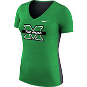 Nike Women's Marshall Thundering Herd Heathered Green Dri-FIT Touch V-Neck T-Shirt