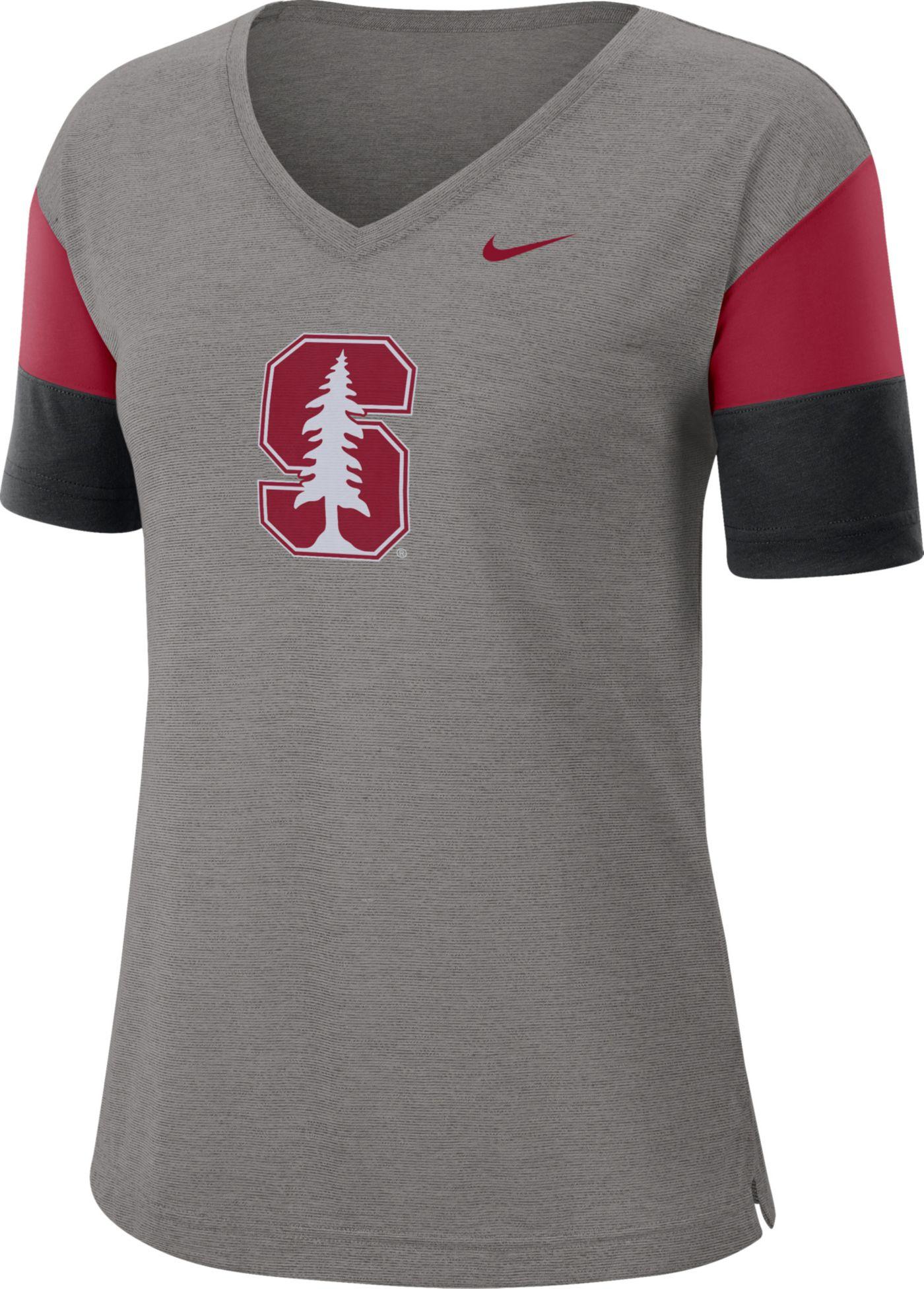 Nike Women's Stanford Cardinal Grey Breathe V-Neck T-Shirt