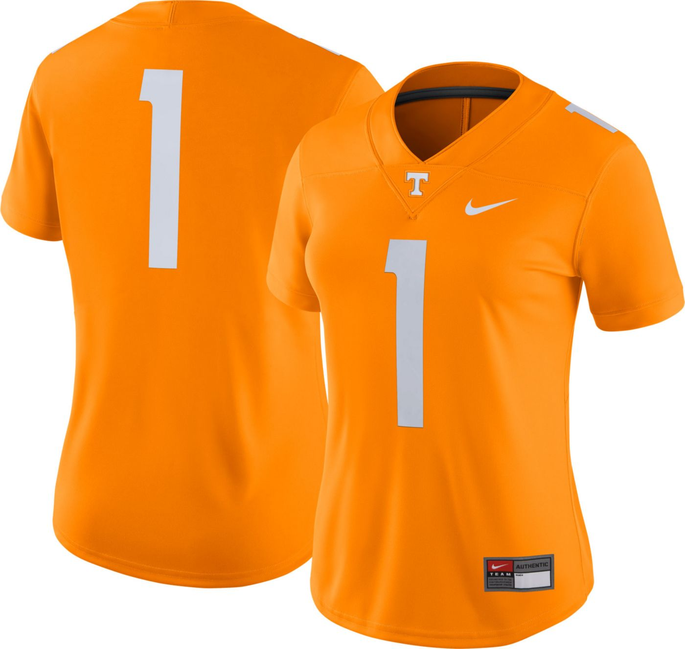 Nike Women's Tennessee Volunteers #1 Tennessee Orange Dri-FIT Game Football Jersey
