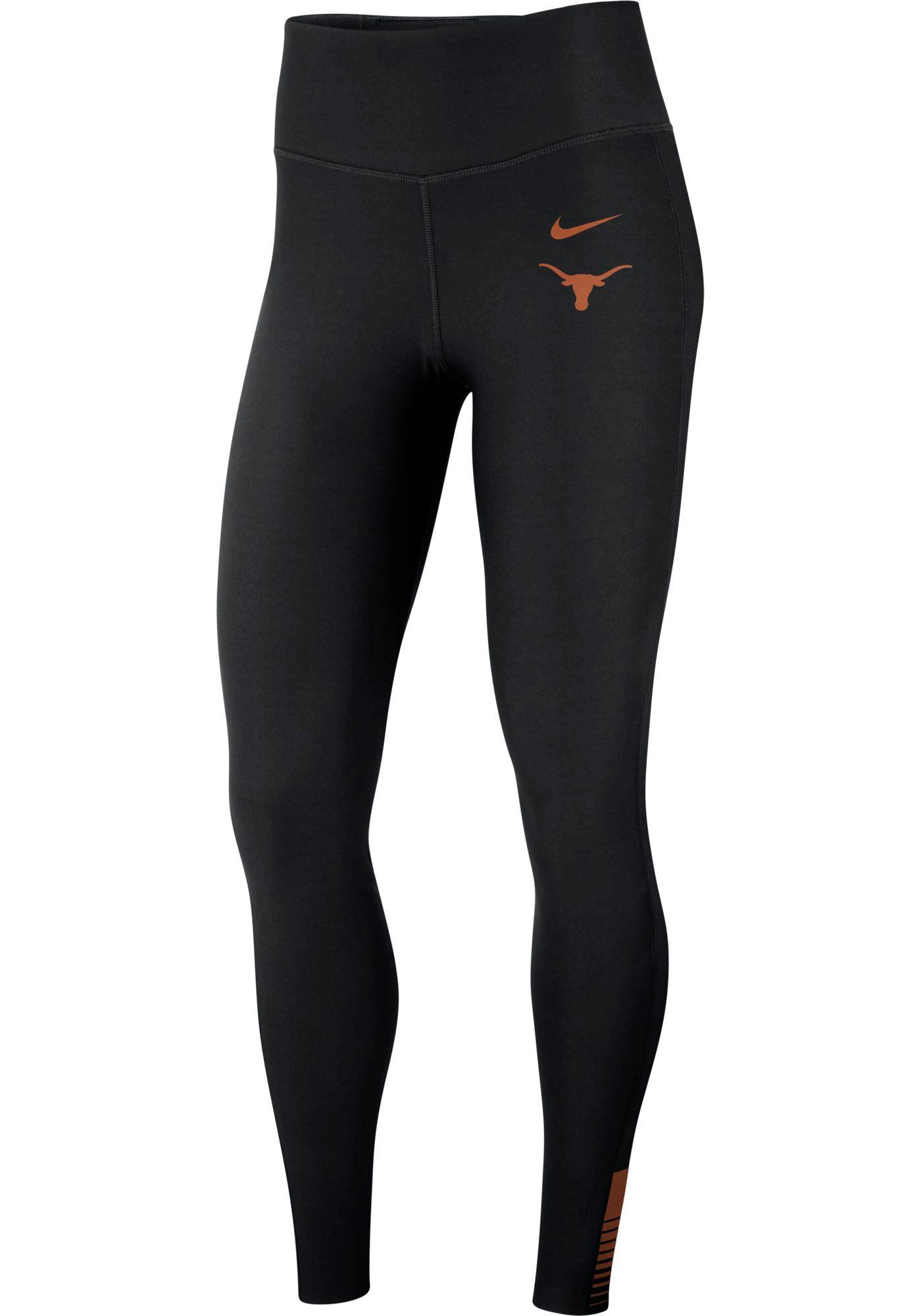 Nike Women's Texas Longhorns Power Sculpt High Rise Training Black Tights