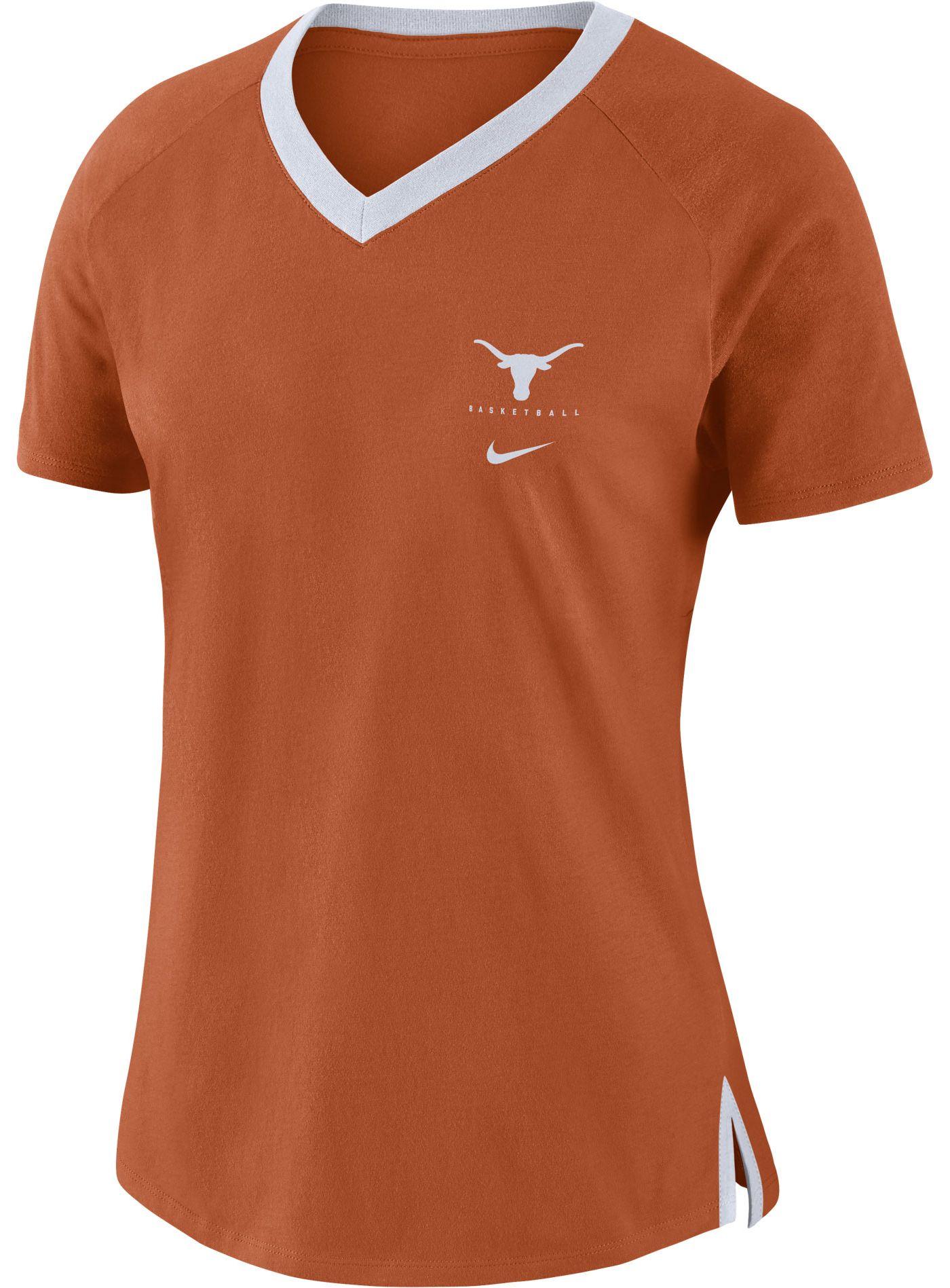 Nike Women's Texas Longhorns Burnt Orange Tri-Blend Basketball Fan T-Shirt