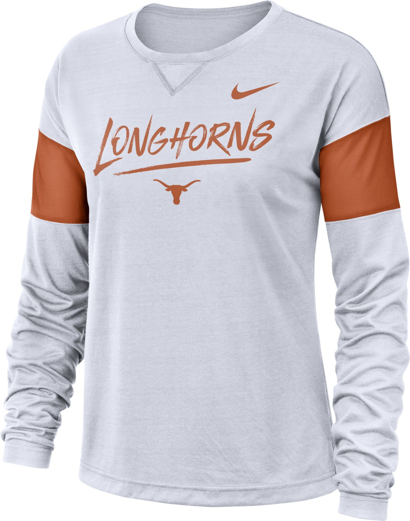 Nike Women's Texas Longhorns Dri-FIT Breathe Long Sleeve White T-Shirt