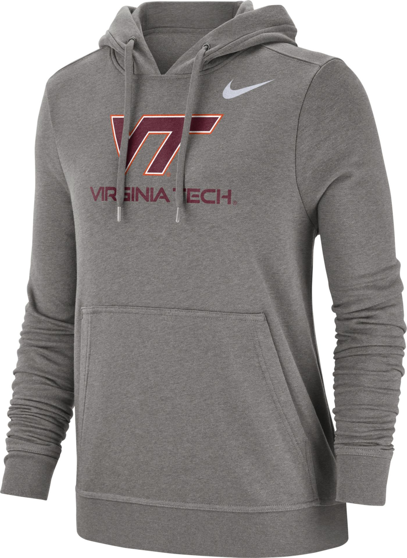 Nike Women's Virginia Tech Hokies Grey Club Fleece Pullover Hoodie