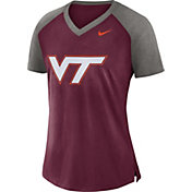 Nike Women's Virginia Tech Maroon/Grey Top V-Neck Raglan T-Shirt