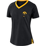Nike Women's Iowa Hawkeyes Tri-Blend Basketball Fan Black T-Shirt