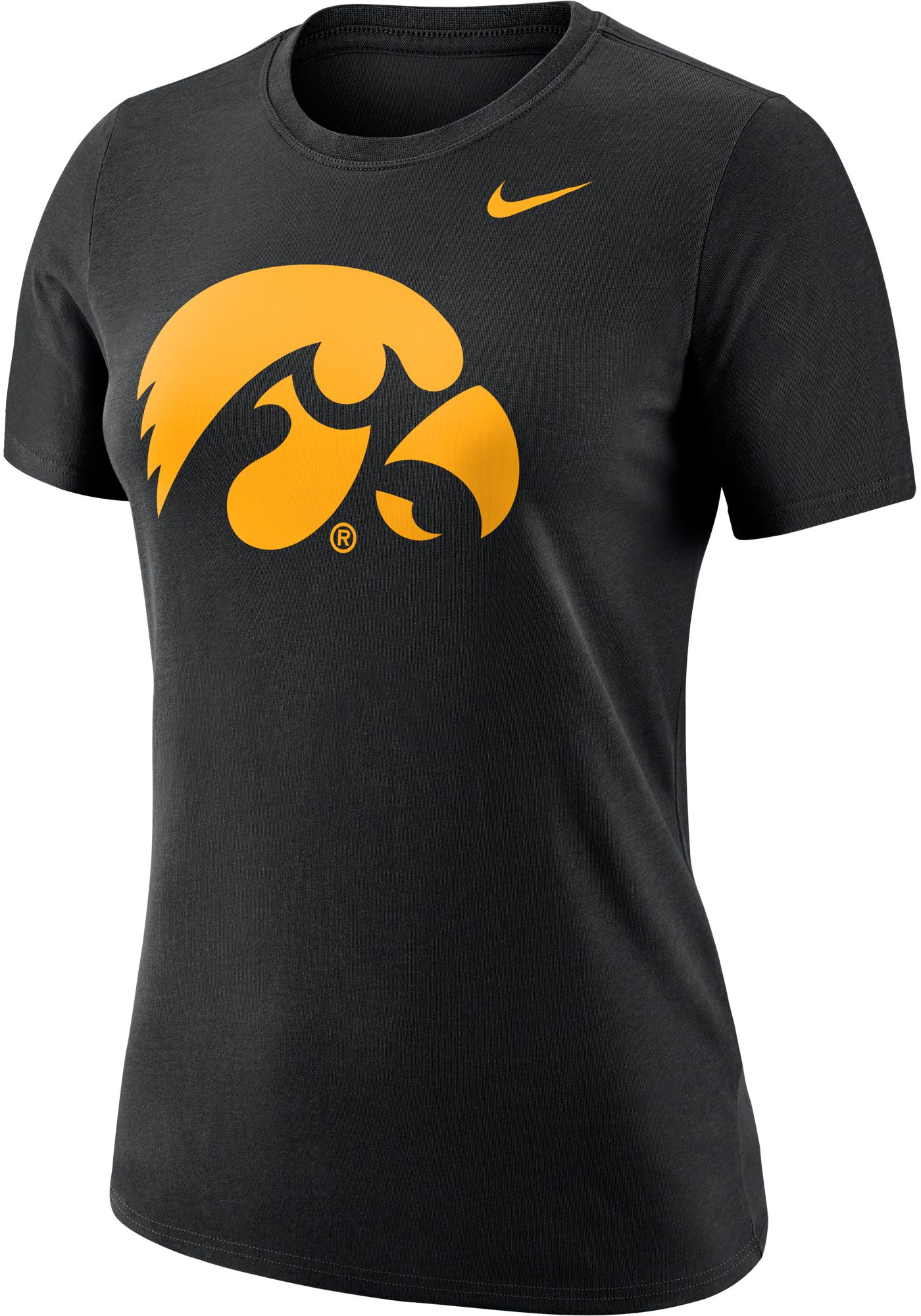 Nike Women's Iowa Hawkeyes Dri-FIT Logo Crew Black T-Shirt