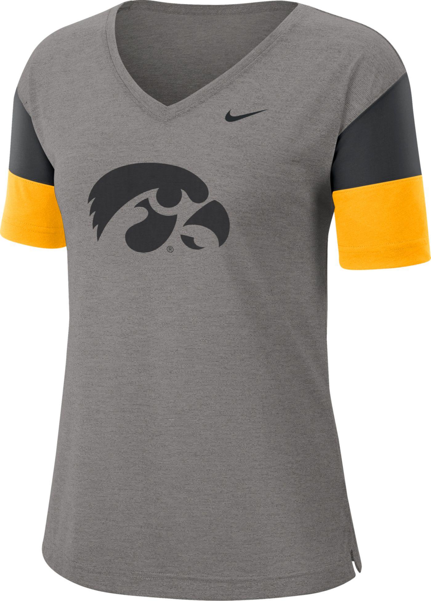 Nike Women's Iowa Hawkeyes Grey Breathe V-Neck T-Shirt