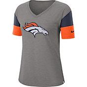 Nike Women's Denver Broncos Breathe Heather Grey V-Neck T-Shirt
