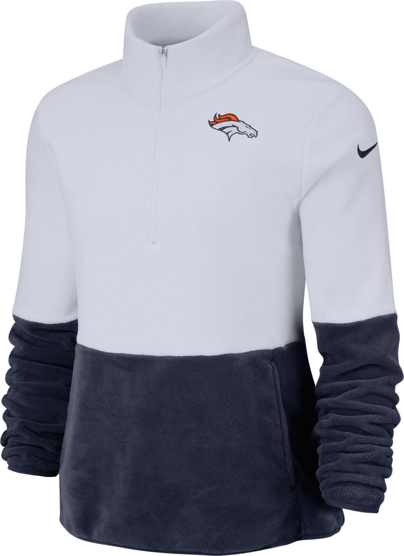 Nike Women's Denver Broncos Therma-FIT Fleece Half-Zip Pullover