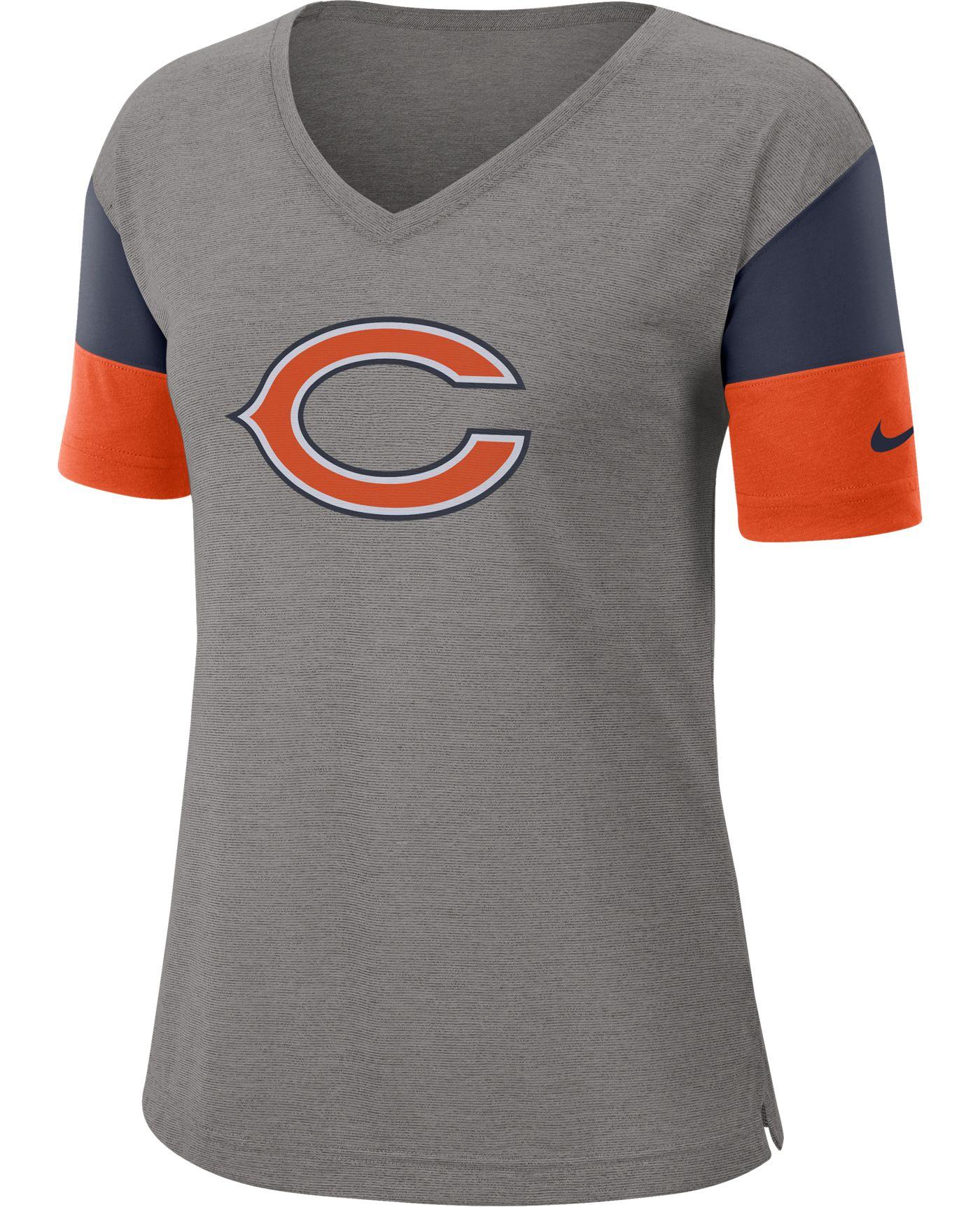 Nike Women's Chicago Bears Breathe Heather Grey V-Neck T-Shirt