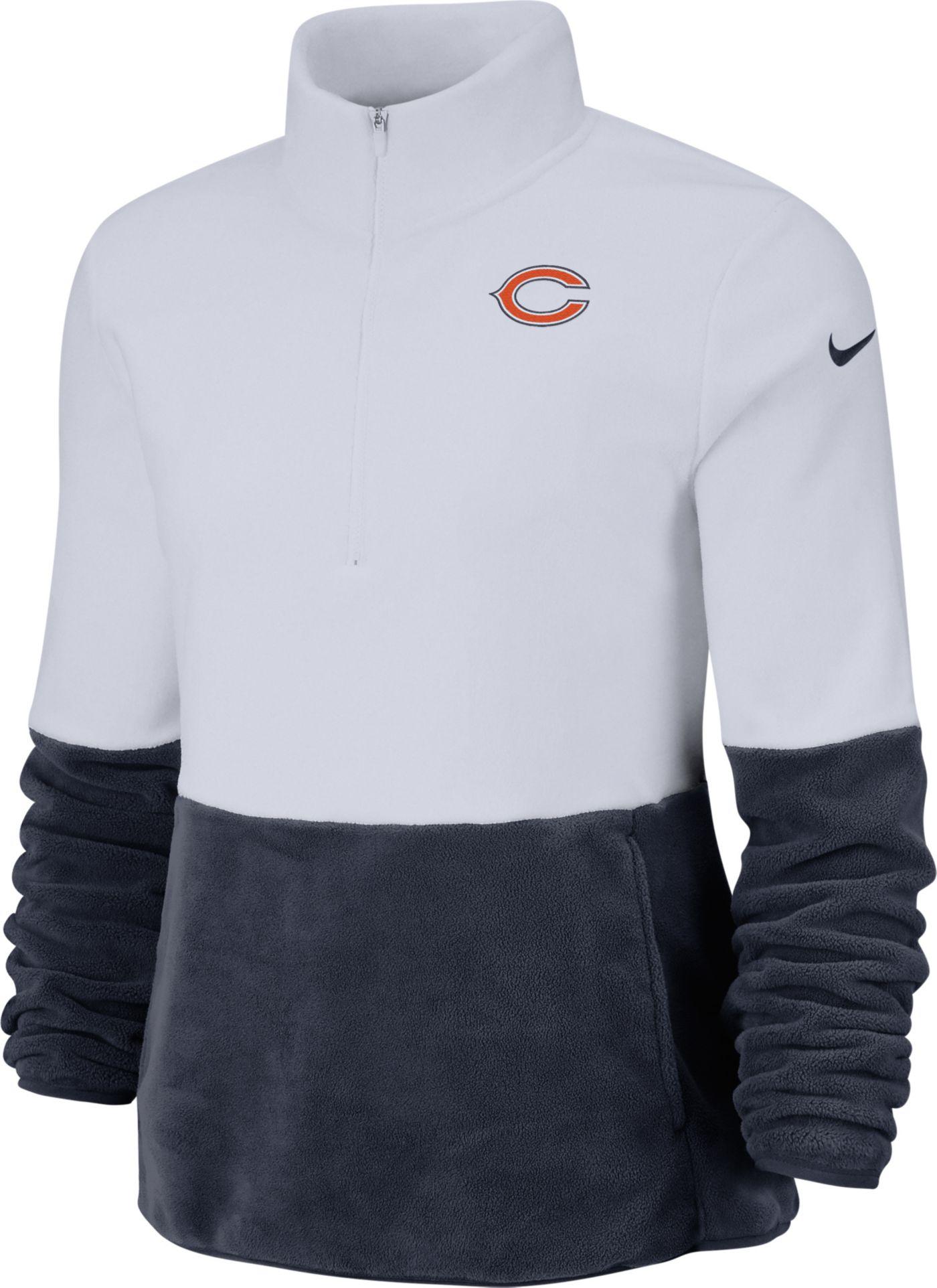 Nike Women's Chicago Bears Therma-FIT Fleece Half-Zip Pullover