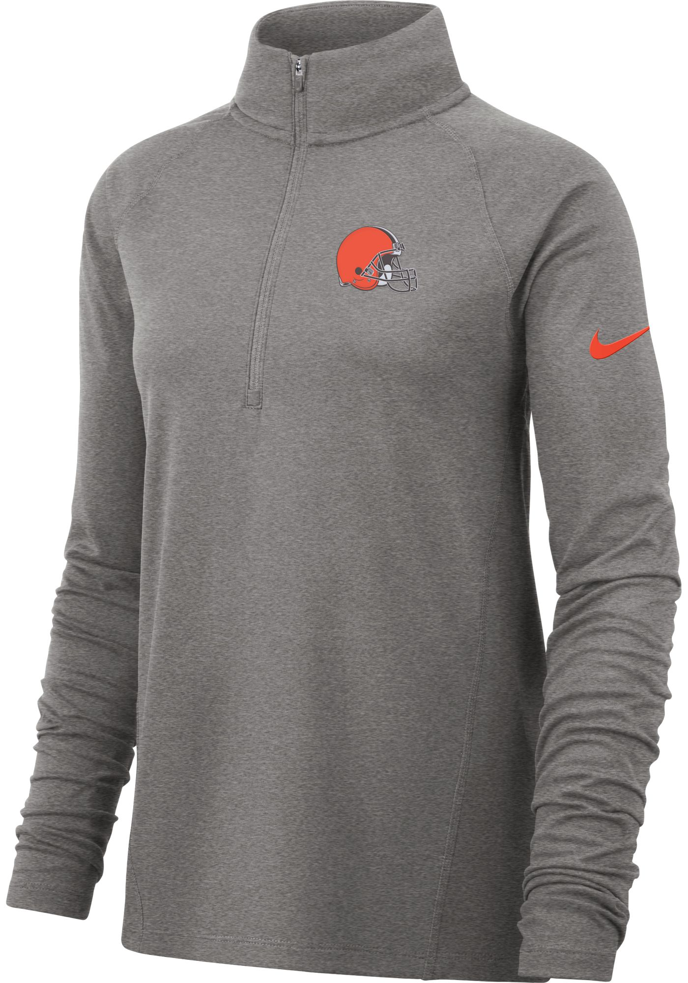 Nike Women's Cleveland Browns Core Grey Half-Zip Performance Pullover