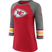 Nike Women's Kansas City Chiefs Stripe Tri-Blend Red Raglan T-Shirt