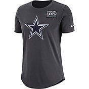Nike Women's Dallas Cowboys Crucial Catch Logo Anthracite T-Shirt