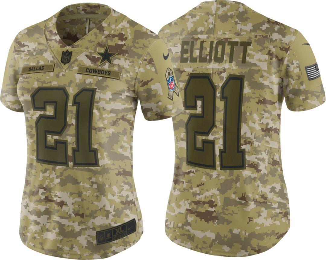 12d696b7ca5 Nike Women's Salute to Service Dallas Cowboys Ezekiel Elliott #21 Limited  Camouflage Jersey 1