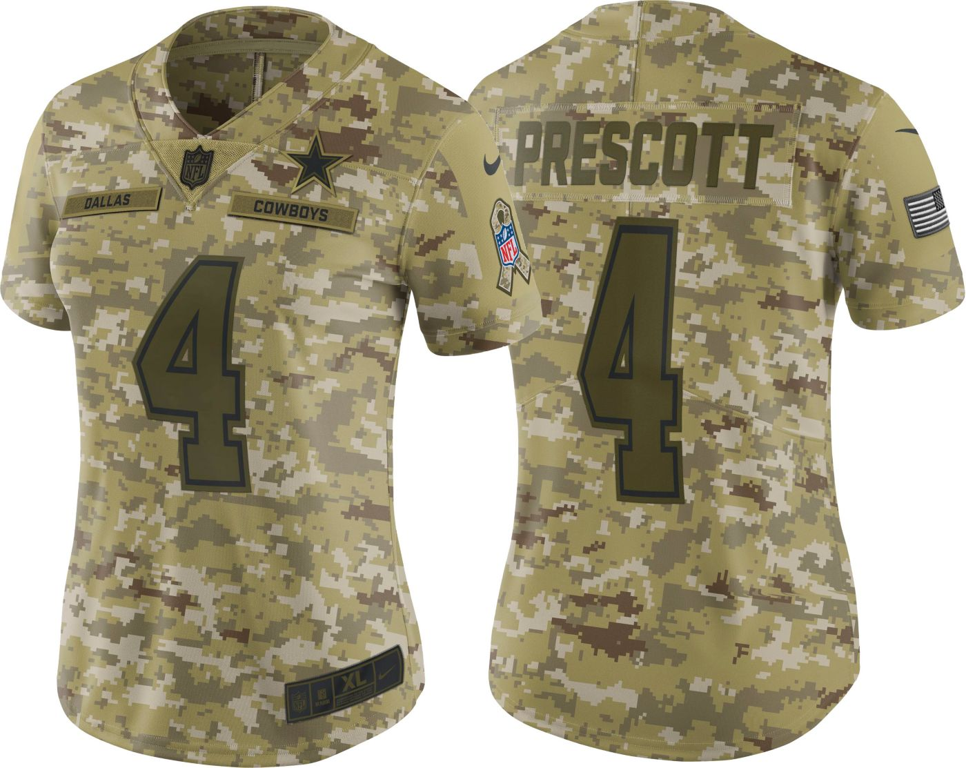 Nike Women's Salute to Service Dallas Cowboys Dak Prescott #4 Limited Camouflage Jersey