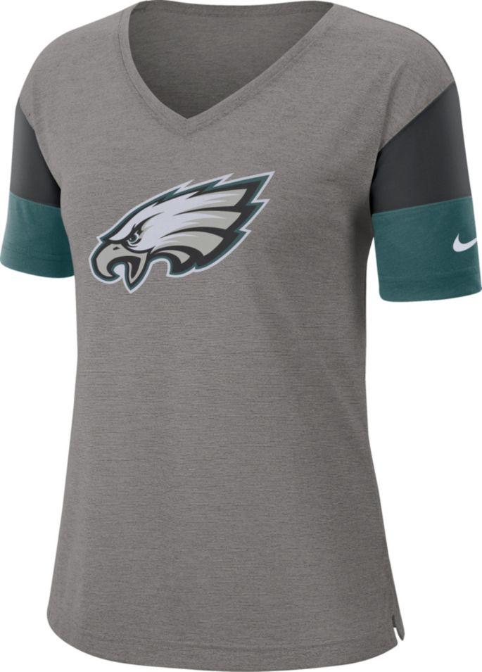 cheap for discount 5db24 ca756 Nike Women's Philadelphia Eagles Breathe Heather Grey V-Neck T-Shirt