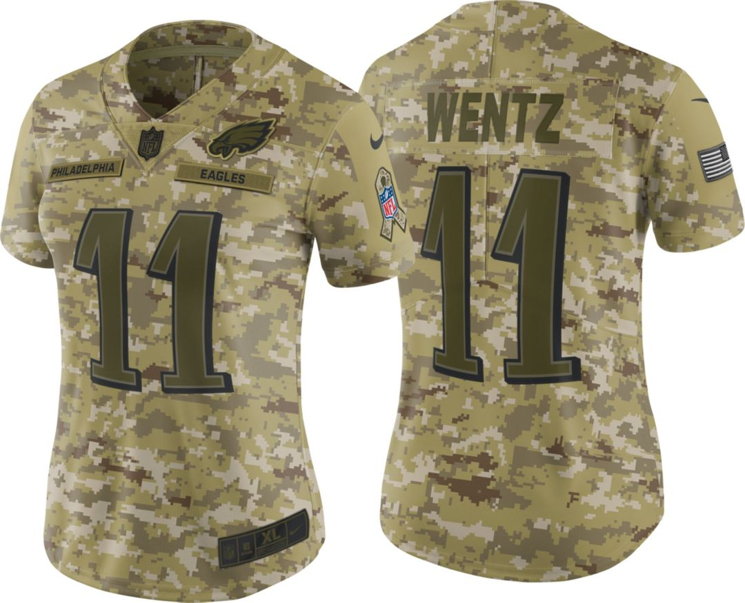 wholesale dealer 0d0ab 3a532 Nike Women's Salute to Service Philadelphia Eagles Carson Wentz #11 Limited  Camouflage Jersey