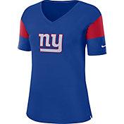 Nike Women's New York Giants Breathe Blue V-Neck T-Shirt
