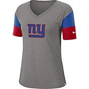 Nike Women's New York Giants Breathe Heather Grey V-Neck T-Shirt
