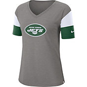 Nike Women's New York Jets Breathe Heather Grey V-Neck T-Shirt