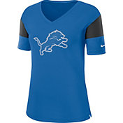 Nike Women's Detroit Lions Breathe Blue V-Neck T-Shirt