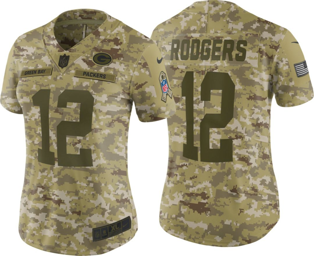 pick up f1661 d24d8 Nike Women's Salute to Service Green Bay Packers Aaron Rodgers #12 Limited  Camouflage Jersey