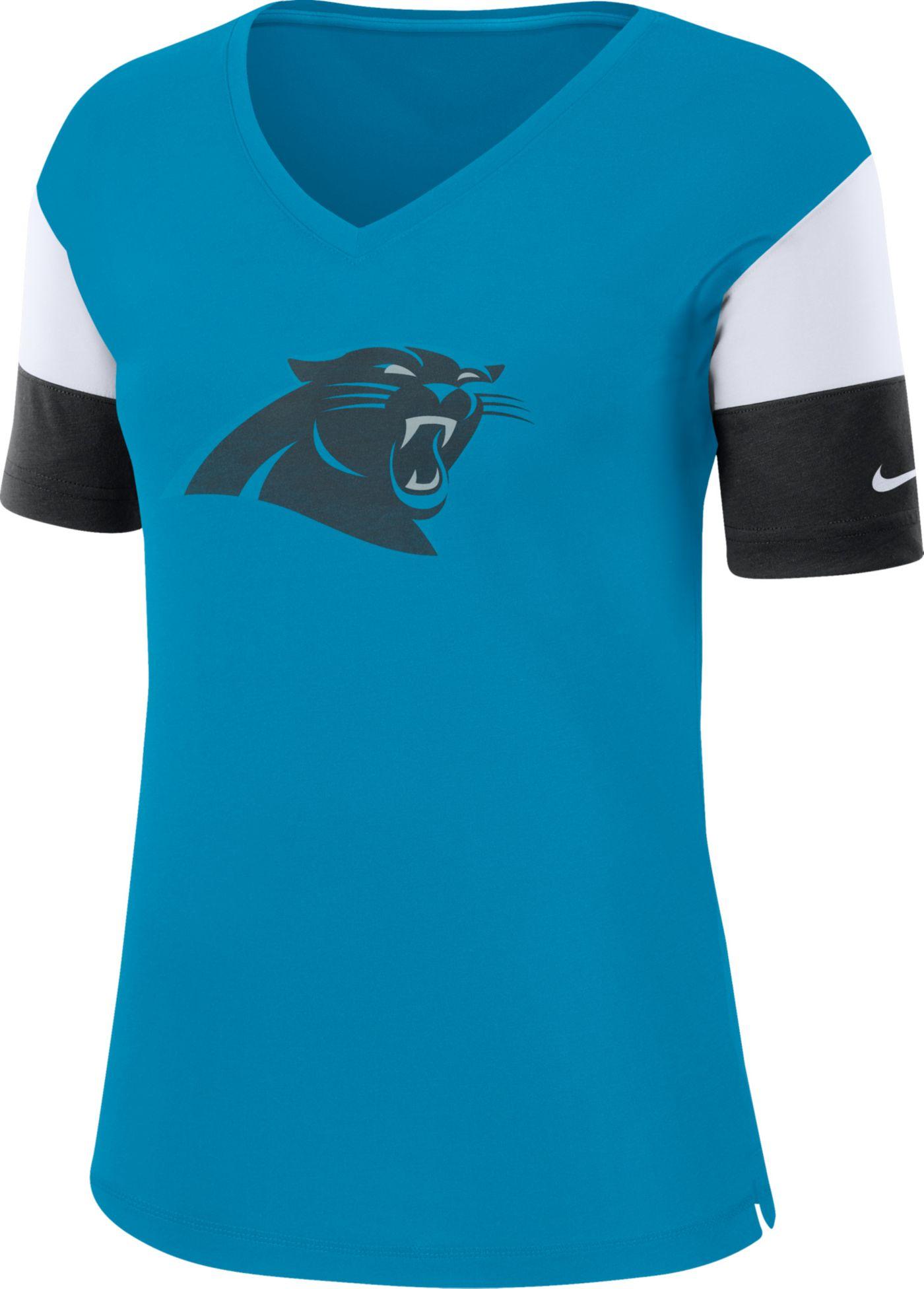 Nike Women's Carolina Panthers Breathe Blue V-Neck T-Shirt
