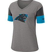 Nike Women's Carolina Panthers Breathe Heather Grey V-Neck T-Shirt