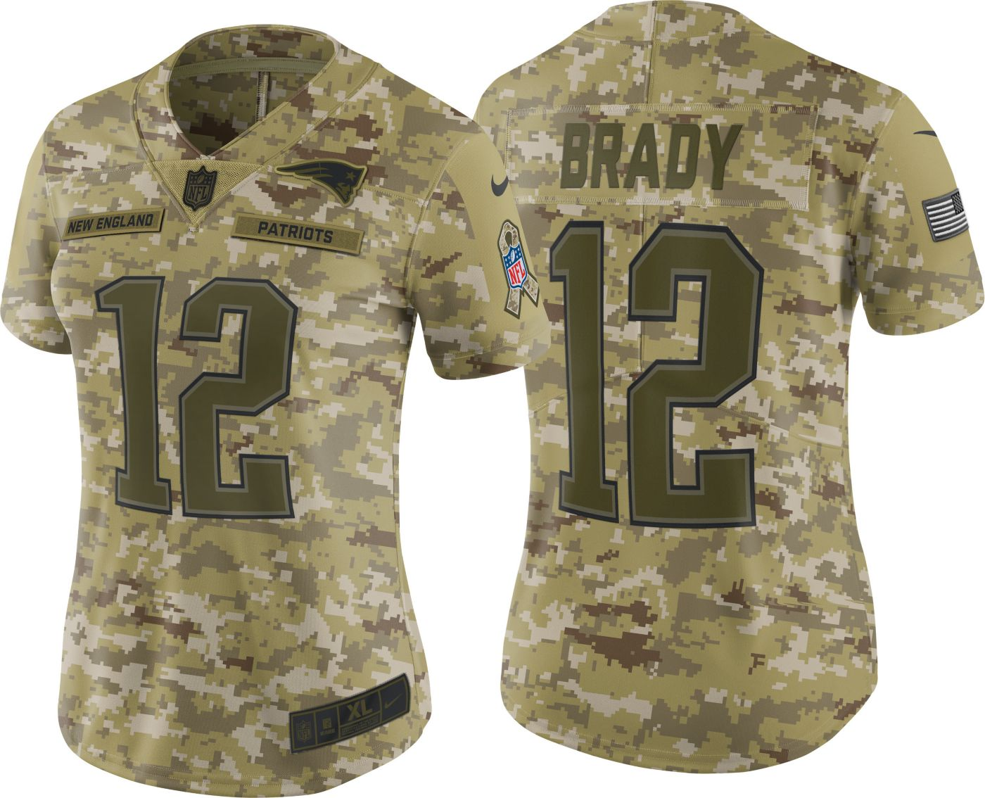 Nike Women's Salute to Service New England Patriots Tom Brady #12 Camouflage Limited Jersey