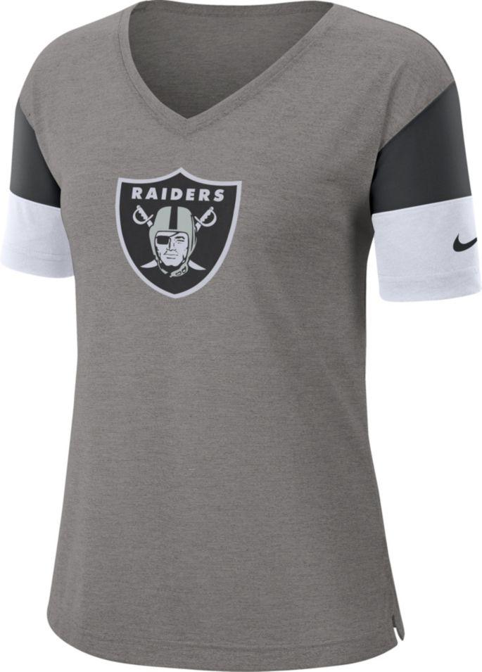 aba2d964 Nike Women's Oakland Raiders Breathe Heather Grey V-Neck T-Shirt ...