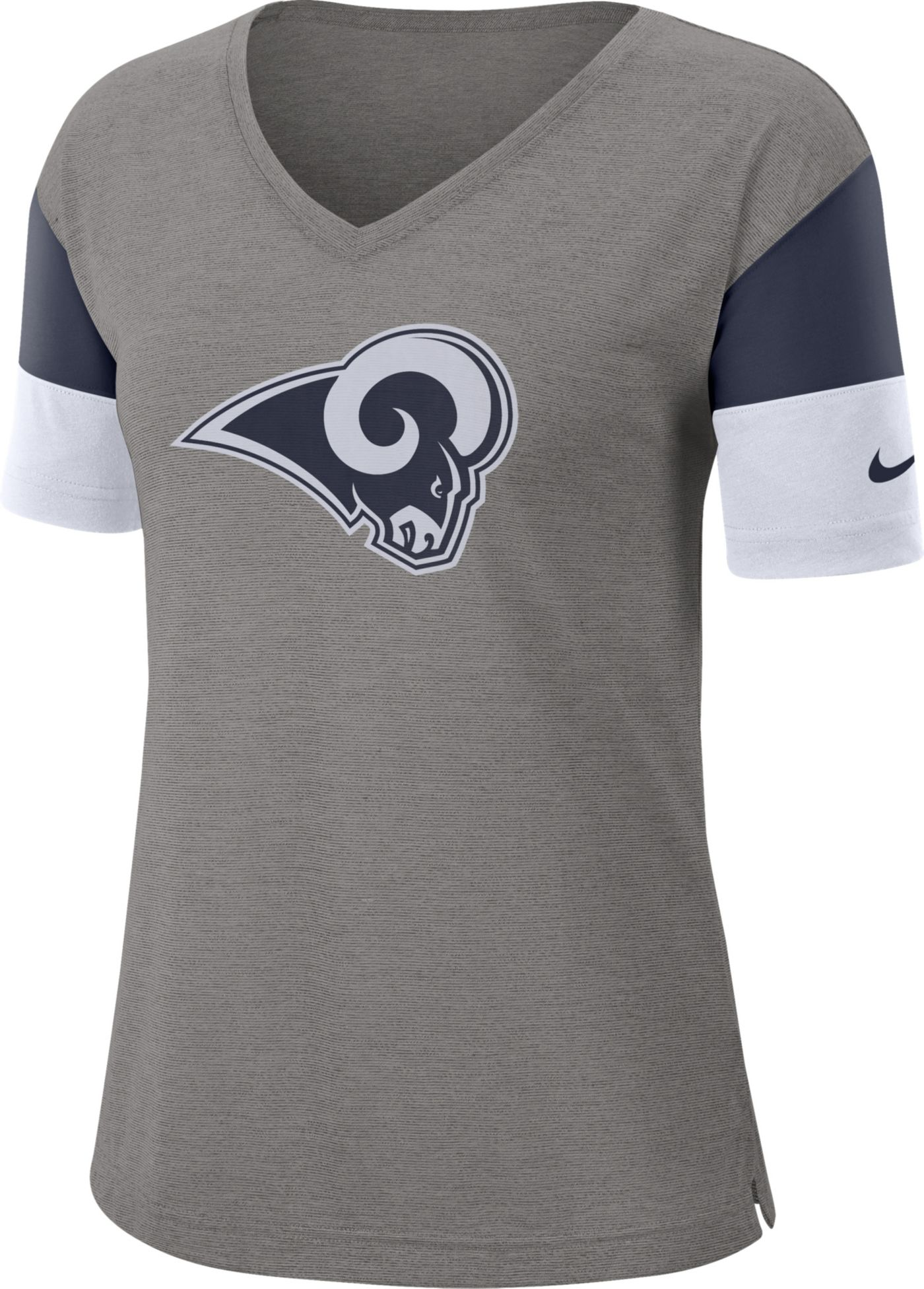 Nike Women's Los Angeles Rams Breathe Heather Grey V-Neck T-Shirt